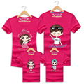 2016 Summer Travel Family Cartoon Matching Clothes Mother Father Baby Cotton Beach Short-sleeved T-shirt Hot Sale Family Looks