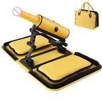 Портативная сумка секс машина желтый пульт дистанционного управления 3 вибрации 3 Thrusting автоматический тепловой фаллоимитатор секс любовь