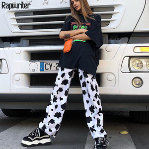 Rapwriter Casual Elastic High Waist Milk Cow Print Pants Women 2018 Spring Straight Loose Fashion Trousers Pantalon Femme Pants