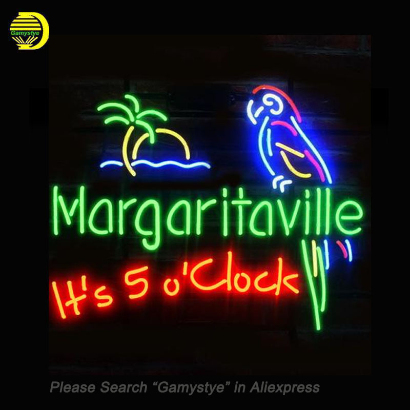 Fashion Neon Sign MARGARITAVILLE JIMMY Handcrafted Real Glass Lamp Neon Light Neon Sign Beerbar Sign Neon Beer Sign 24X20 Custom