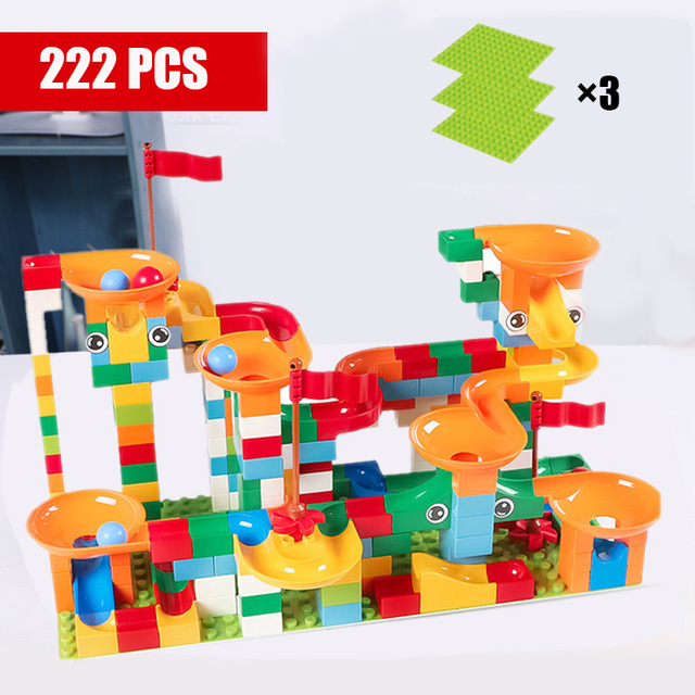 43 296 PCS Marble Race Run Maze Balls Track Building Blocks DIY Funnel Slide Assemble Bricks Compatible Big Size Bricks Toys in Blocks from Toys Hobbies