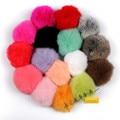 Wholesale 16 Colors 8cm Geniune Rabbit Fur Ball Keychain Fur Pompom Ball Key Chain Key Accessories Women Fur pom pom key chain