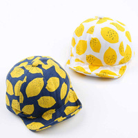 Fashion Lemon Print Children Hats Cute Cotton Baby Hat Summer Caps For Girls Boys With Soft