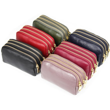 KANDRA Fashion Genuine Leather Triple Zipper Wallet Plain Small Coin Purse for Women 3-Zip Every Day Girl Capacity Clutch