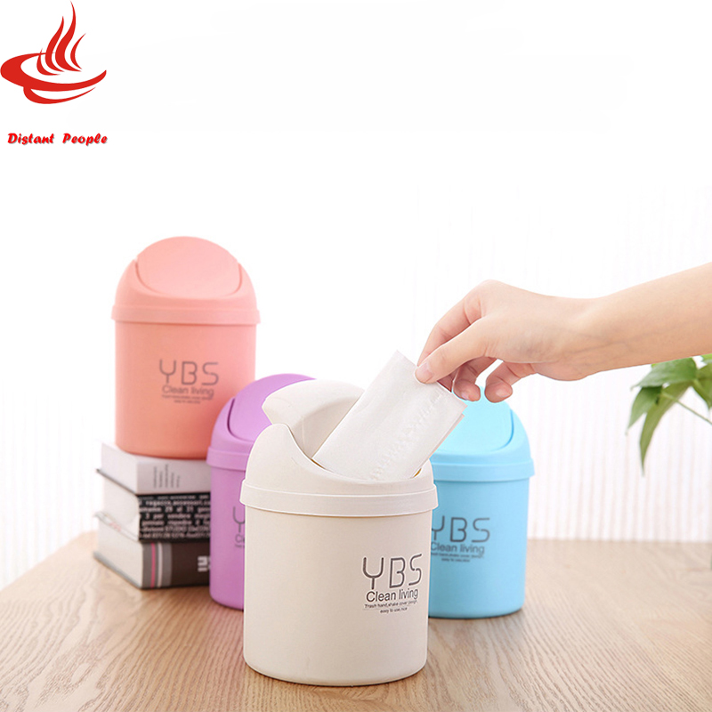 1pcs Mini Table Dustbin 1.5L Small Rolling Cover Type Waste Bin Desktop Garbage Basket Table Home Office Trash can