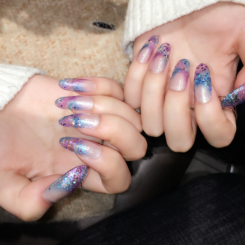 Glitter Clear Acrylic Fake Nails Blooming Pink Blue French Full Nail ...
