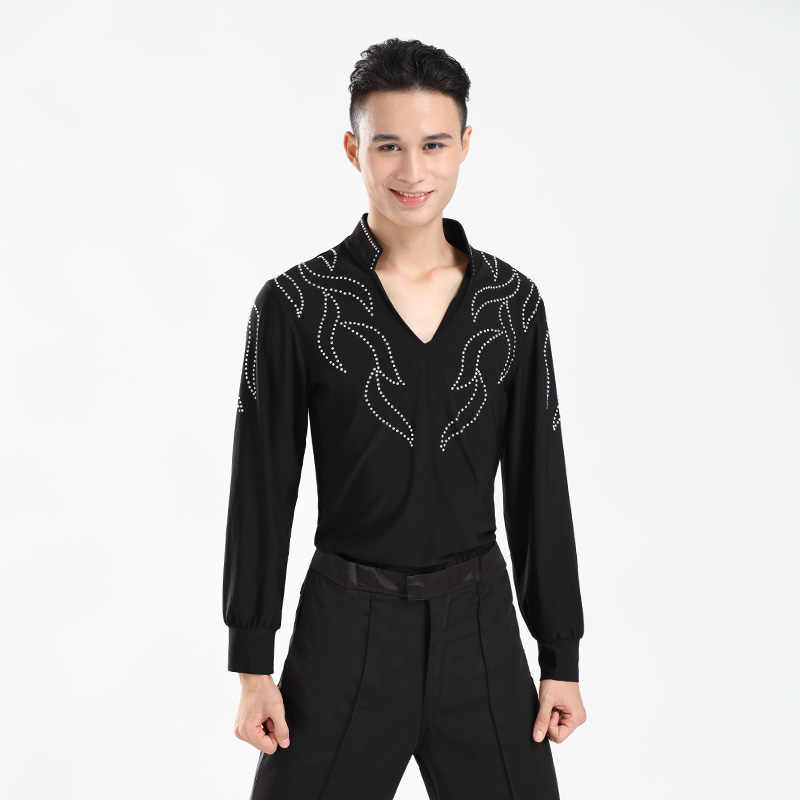 8faf17a4c2b Autumn and Winter New Men's Latin Practice Clothes V-neck Long-sleeved  Performance Shirt Adult Latin Dance Competition Clothing