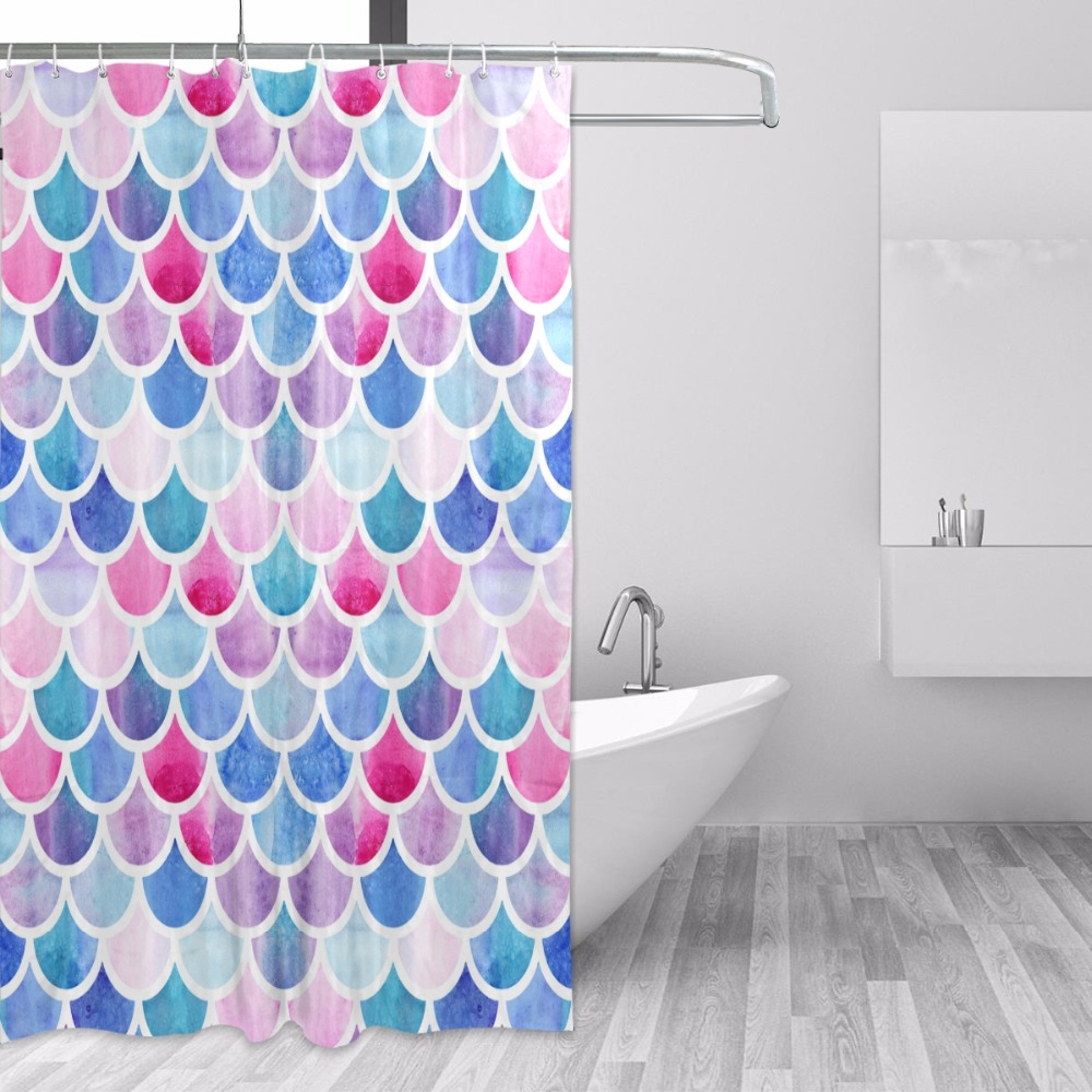Mermaid Scale Shower Curtain Us 14 1 24 Off High Quality Custom Waterproof Bathroom Mermaid Scales Geometric Rhombus Shower Curtain Polyester Fabric Bathroom Curtain In Shower