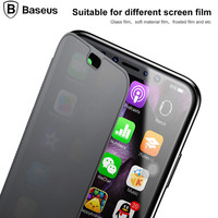 Baseus Flip Phone Case For IPhone X Touchable Tempered Glass Cover TPU Soft Back Shell Case