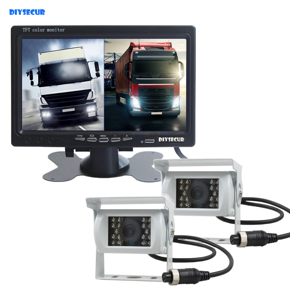 DIYSECUR DC12V - 24V 7inch 2 Split LCD Screen Car Monitor HD CCD Rear View Car Camera White System for Bus Houseboat Truck все цены