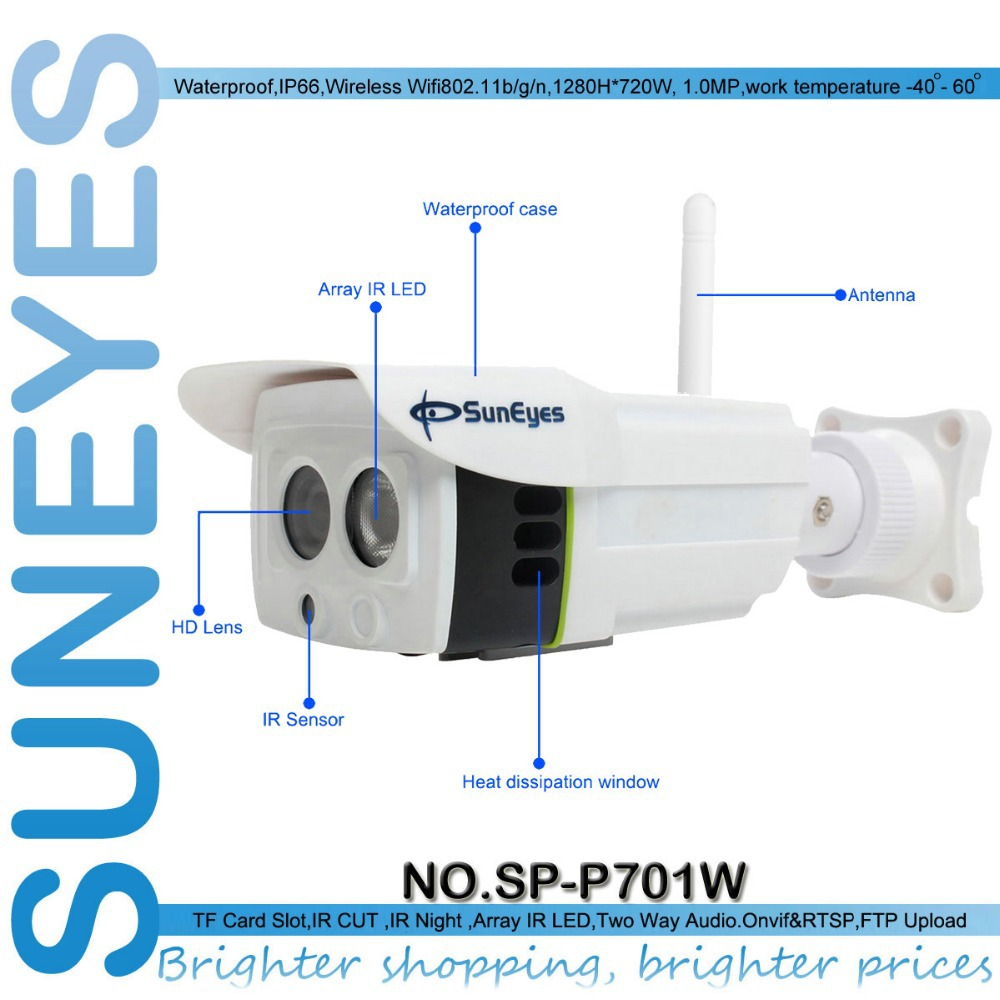 ФОТО SunEyes SP P701W ONVIF 720P 1.0 Megapixel HD IP Camera Wireless Outdoor P2P Plug and Play IR CUT  SD Card Slot