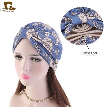 New fashion satin liner turban headwrap women chemo cap for hair loss Bandana Hijab Turbante Hat Hair Accessories