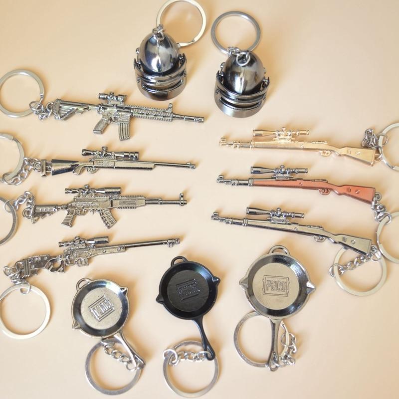 2019 New PUBG Keychain Pan Helmet 98K AWM M24 M416 Cosplay Props Alloy Key Ring Armor Model Gun Car Key Chain Ring Game Gift