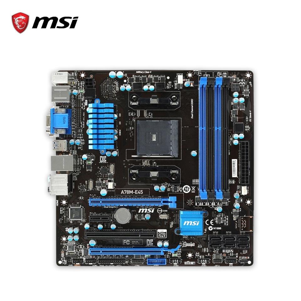 все цены на MSI A78M-E45 Original Used Desktop Motherboard A78 Socket FM2+ DDR3 SATA3 USB3.0 Micro ATX онлайн