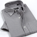 New Arrival Men's Classic Style Non-Iron Oxford Shirts Plaid/Striped Short Sleeve Casual Shirt High Quality Brand Clothing