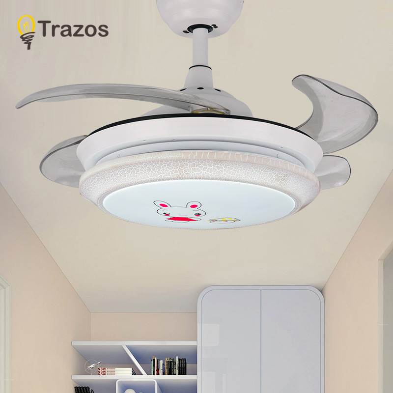 TRAZOS Children Ceiling Fans Without Light Bedroom 220v Ceiling Fan Three colou Fans With Lights Remote Control Ventilador Teto