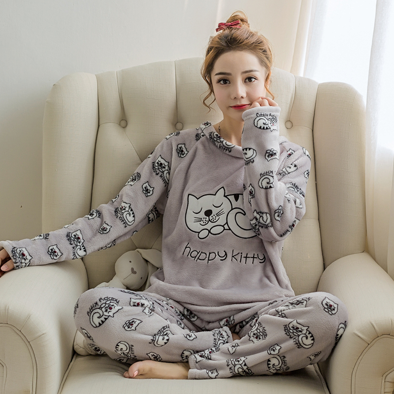 Flannel Winter Women Warm Printing Cartoon Cat   Pajamas   with Long Sleeve Long Pant Plus Thick O Neck Home Wear Suit   Pajama     Sets