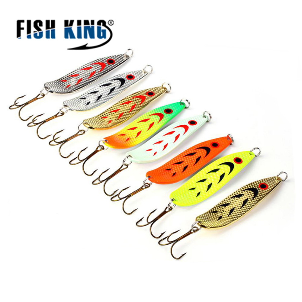 все цены на FISH KING 1PC-8PC/Bags Mepps Spoon 8 Colors Weight: 20g/30g Hook : 2#/3# Artificial Bait 10.5cm/12.0cm Fishing Lure For Fish онлайн