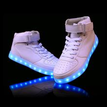 New Kids Boys Girls USB Charger Led Light Shoes High Top Luminous Sneakers casual Lace Up Shoes Unisex Sports for children