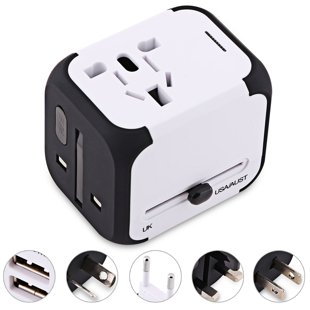 International Travel Adapter Universal Power Converter Worldwide All in One with 2.4A AC Plugs Adapter for European USA EU UK AU