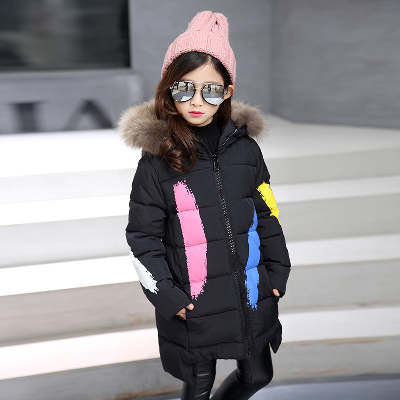 2018 New Winter Children Jacket For Girls Cotton-Padded Coats Fashion Fur Collar Warm Kids Hooded Outerwear 4 6 8 10 11 Years fur hooded loose kids winter coats for girls warm cotton padded clothes children fleece outerwear