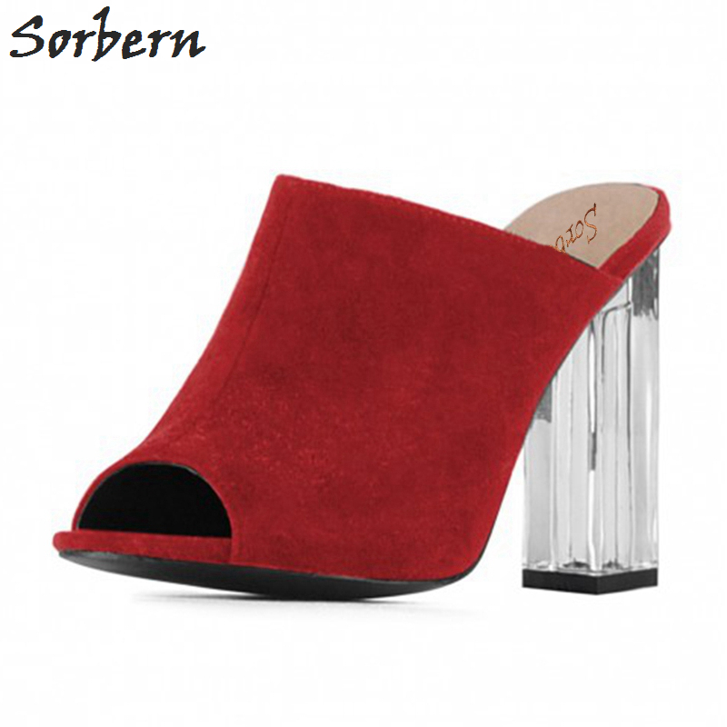 coupon code 2018 shoes better Sorbern Red Transparent Square Heels Slippers Women Sandals Open ...