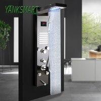 YANKSMART Nickel Brushed Black Digital Display Shower Panel Column LED Rain Waterfall Shower Spa Jets Bath Shower Mixer Faucet