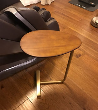 Creative Lazy Bedside Reading Table Oval Sofa Corner Simple Economic Type Coffee Table Nordic Solid Wood Iron Art With Roller
