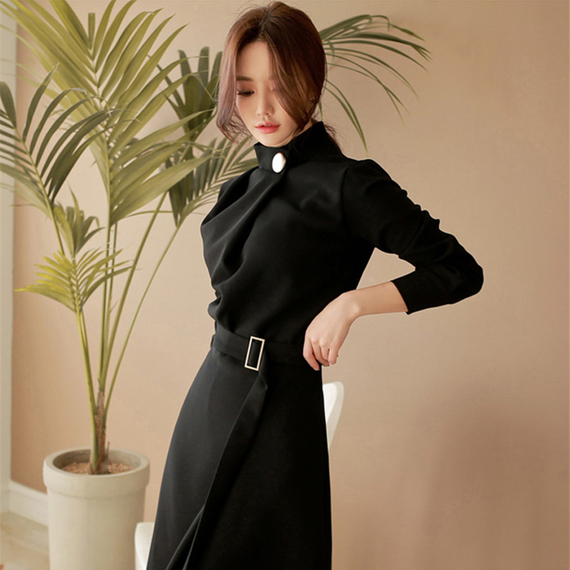 Business dress for women office ladies korean style black social dress for work autumn winter dress 2018 KK2574 X