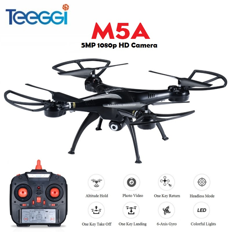 Teeggi M5A RC Drone Con 5MP 1080 p HD Della Macchina Fotografica 6-Asse di Controllo Remoto RC Elicottero Quadcopter Dron VS x5HW X5C Dron