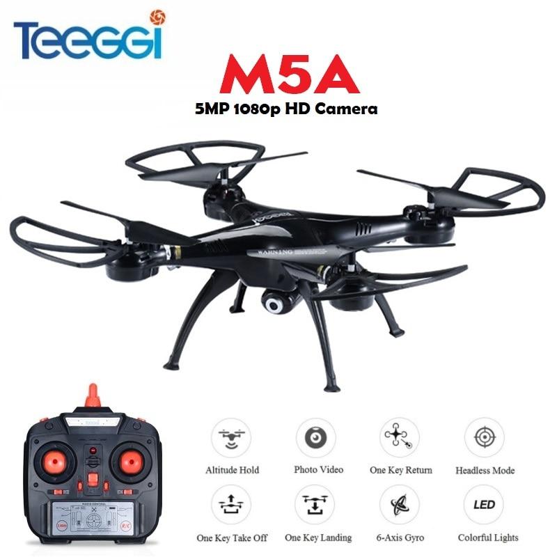 Teeggi M5A RC Drone con 5MP 1080 p HD Cámara 6 eje de Control remoto RC helicóptero Quadcopter Dron VS x5HW X5C Dron