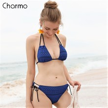 купить Charmo Bikini 2019 New Swimsuit Women's Bikini Sets Hollow-Out Swimwear Halter Bikini Swimsuit Removable Padded Bathing Suit по цене 488.48 рублей