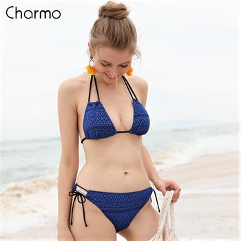 Charmo Bikini Swimsuit Womens Sets Hollow-Out Swimwear Halter Removable Padded Bathing Suit
