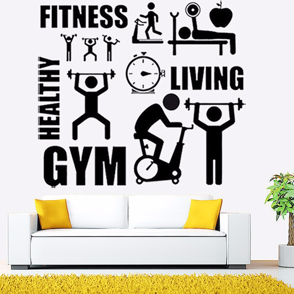 Exercise Stickers Gym Wall Decal Sticker Sport Motivation Fitness Gym Wall  Mural Art Decal Home Decoration