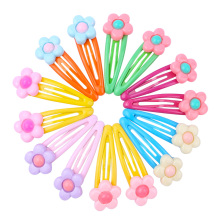 Get more info on the Colorful Flower  Print Snap Hair Clips Set for Children Girls Baby Women Hair Accessories Cute Color Metal Barrette Hair Pins