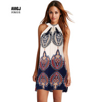 New Style Sexy Lady Summer Holiday Boho Halter Neck Chiffon Short Beach Dress Short Before The