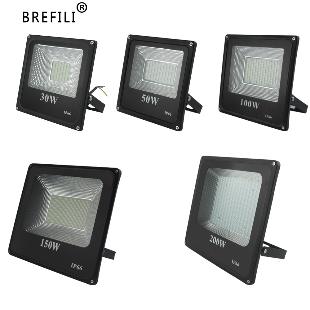 BREFILI LED Flood Light Waterproof IP66 Spotlight 30W 50W 100W 150W 200W For Outdoor Garden Floodlight AC220V Foco Led Exterior