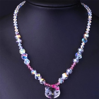 SWAN Exquisite Crystal Pendants Necklaces Hello Kitty Cute Fashion Chain Necklace Jewelry Girls Women Gifts Handmade DIY