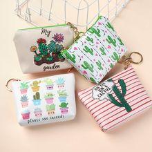 Zipper Pouch Change-Purse Small Wallet Cactus-Print Women Key-Holder Coin-Bag Girl Mini