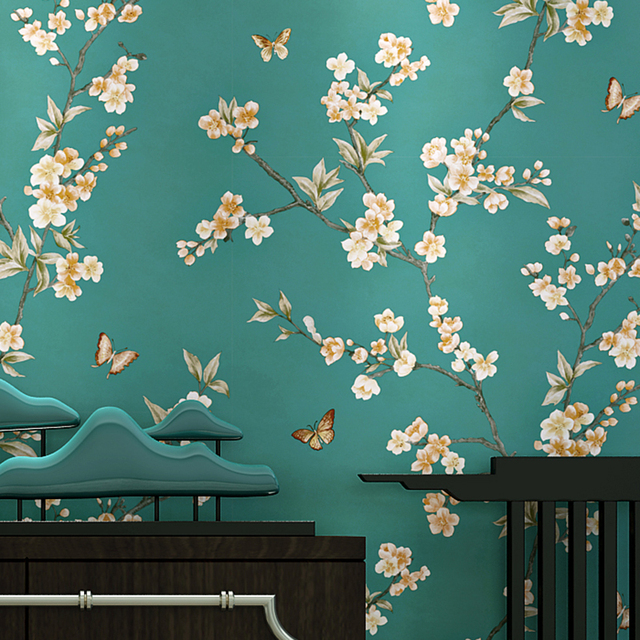 American Style Rustic Blue Wallpaper Roll Vintage Floral Non Woven Butterfly Wall Paper Bedroom Wallpapers