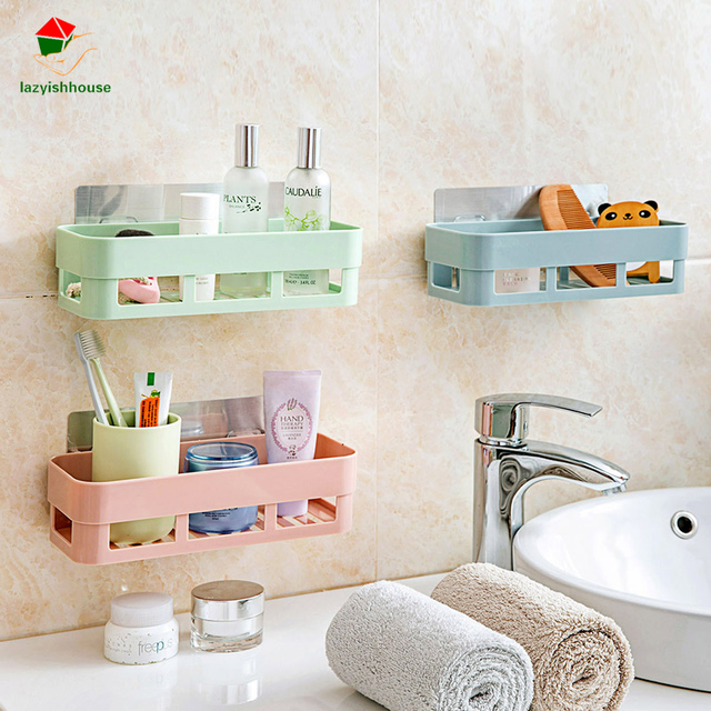 Multifunctional Plastic Bathroom Shelf Adhesive Decorative Wall Shelves  Sticky Wall Holder Remote Control Holder Wall Mounted