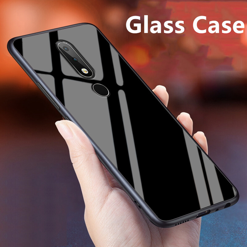 Luxury Glass Case For <font><b>Nokia</b></font> <font><b>6.1</b></font> Plus Silicone <font><b>TPU</b></font> Frame+Glass Back Cover Accessory For <font><b>Nokia</b></font> X6 2018 TA-1099 Coque Fundas 5.8