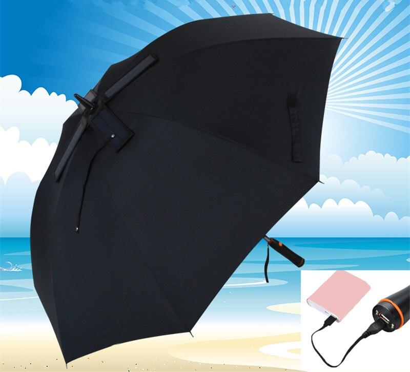 Портативный зонт из стекловолоконного сплава, с автоматической зарядкой от солнечных батарей, 119 см