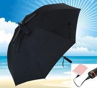 119cm hand open solar automatic charging electricity anti thunder fiberglass portable battery windproof alloy fan umbrella