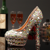 Fashion 2015 Women S Shoes Thin Heels Round Toe High Heeled Shoes Wedding Shoes Colorful Crystal