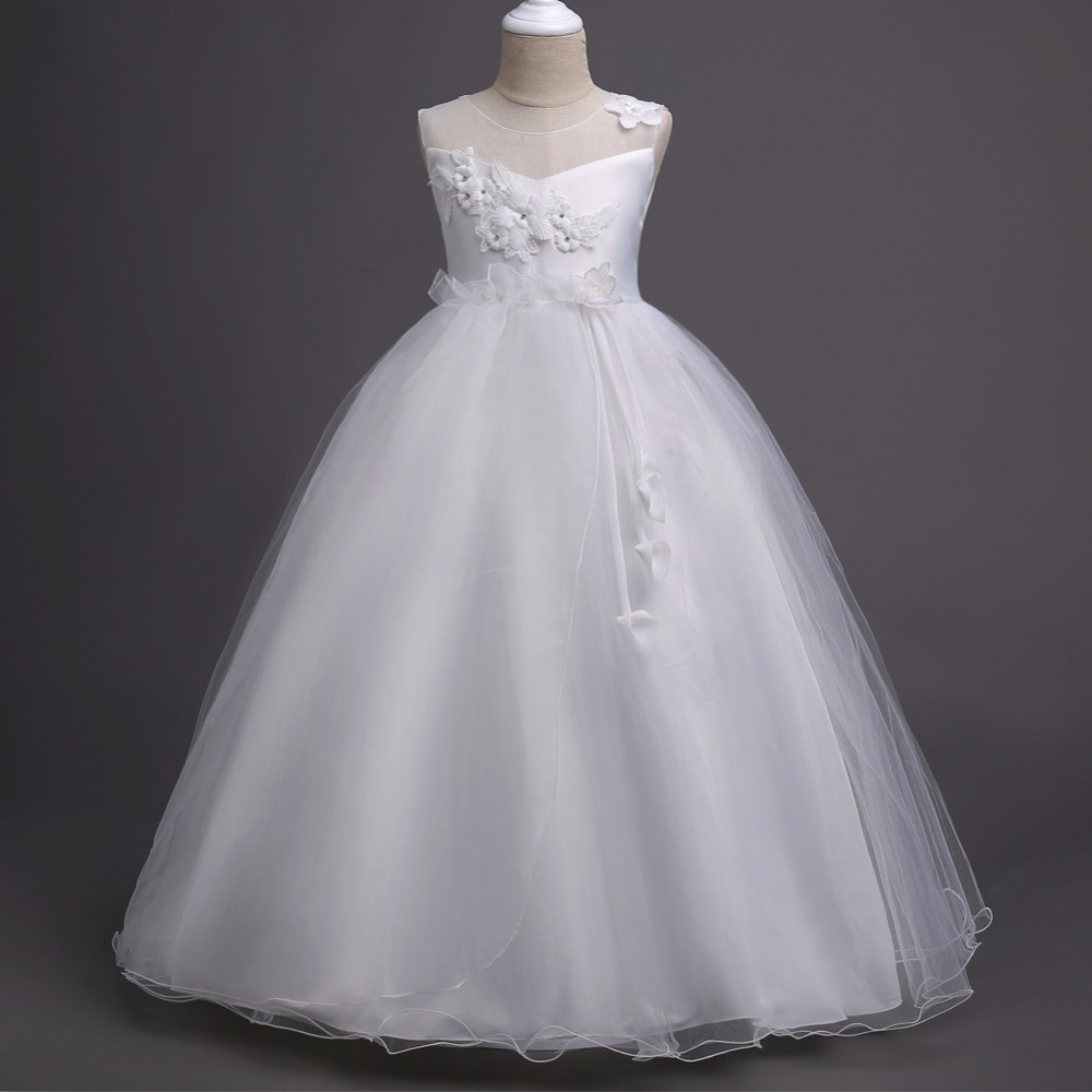 2019 Cheap White First Communion   Dresses   For Little   Girls   In Stock Organza Appliques A Line Champagne   Flower     Girl     Dress