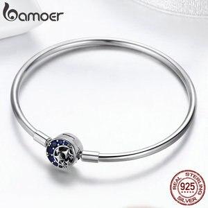 Image 3 - BAMOER Echtem 100% 925 Sterling Silber Blau CZ Mond und Sterne Armband & Armreifen für Frauen Sterling Silber Schmuck S925 SCB080