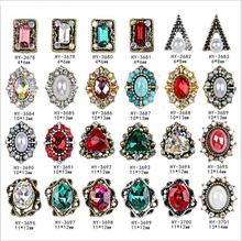10pcs lot 3d Nail Art Ancients Alloy Decorations with AB Side Rhinestones Diamonds Jewelry on Nails Salon Supplies cheap Beaumall HY3678~HY3701 Acrylic Rhinestone Decoration 10pcs per lot see photos