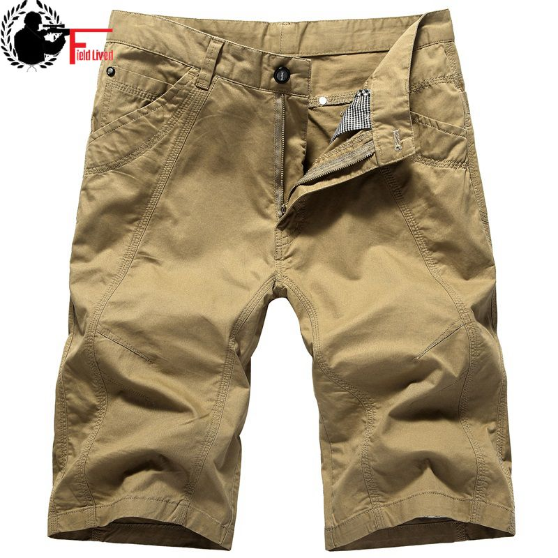 Shorts Mens Summer Cotton Shorts Board Shorts Breathable Hot Casual Shorts Loose Bermuda Male Breeches Large Size 40 42 44 Khaki