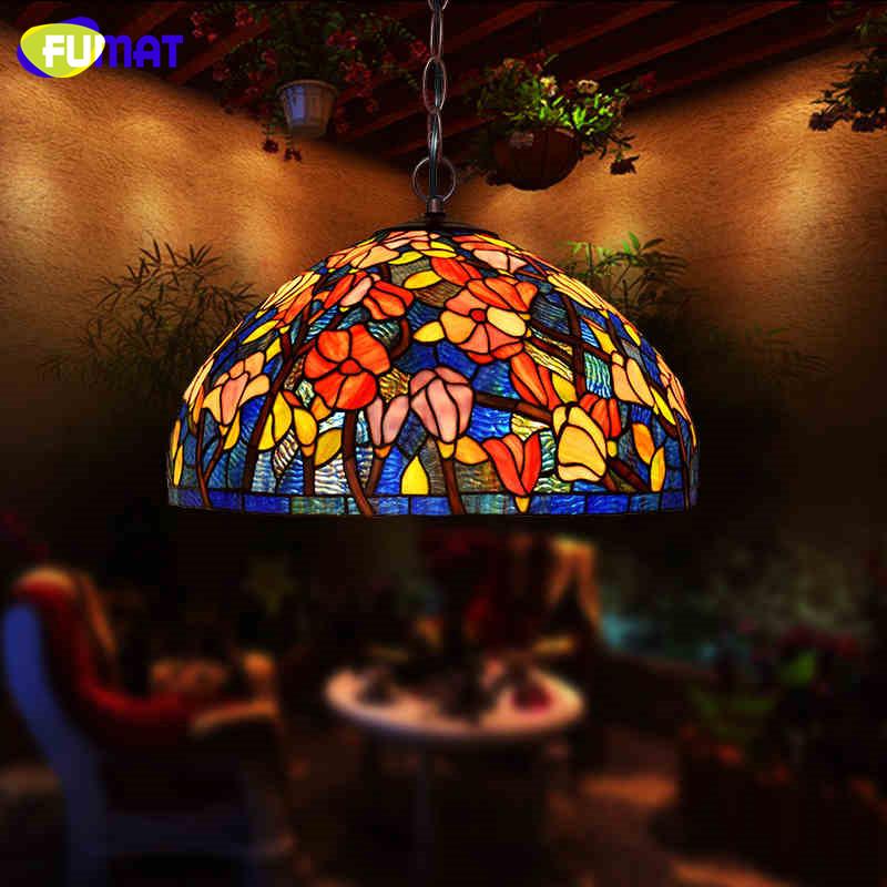 FUMAT Stained Bombax Glass Shade Pendant Lamps Tiffany E26 E27 LED Kitchen Fixture Hanging Lighting Fixture Hanglamp Lights